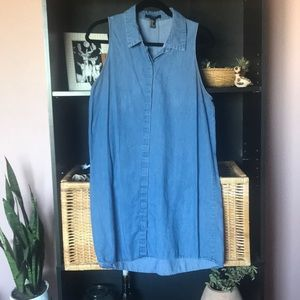 Denim Button Up Tank Dress